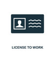license to work icon monochrome style design from vector image vector image