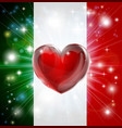 love italy flag heart background vector image vector image