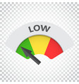 low level risk gauge icon low fuel on isolated vector image