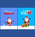merry christmas set cards with santa and bunny vector image vector image