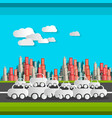 paper cut cars and clouds flat design busy time vector image