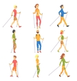 People Doing Nordic Walk Outdoors Set Of vector image vector image