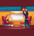 people in train passengers travel railway car vector image vector image