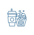 popcorn and cola line icon concept popcorn and vector image vector image