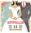 Retro wedding invitationBride groom decor vector image