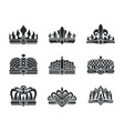 royal crowns with unusual design monochrome set vector image vector image