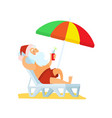 santa claus lying on sunbed under umbrella vector image vector image
