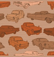seamless pattern with cars retro car vector image vector image