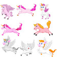set cute cartoon unicorns isolated vector image