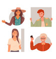 set happy curious looking people peeping from vector image