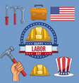 set of labor day elements vector image