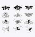 set of stylized bees collection of logos vector image vector image