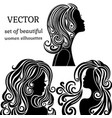 set of women head silhouettes with curly vector image vector image