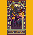 sexy witch with a broom art nouveau style card vector image vector image