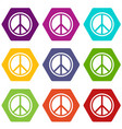 sign hippie peace icon set color hexahedron vector image vector image