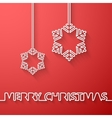 Silhouette of text and snowflakes on a red vector image vector image