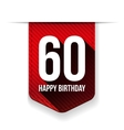 Sixty years happy birthday ribbon vector image vector image