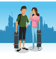 skaters in the city vector image vector image