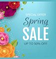 spring sale poster with color flowers background vector image vector image