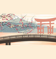torii lake mountain in asian motive vector image