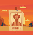 wanted poster for cartoon cowboy on desert sunset vector image vector image