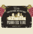 wine label with landscape village and grapes vector image vector image