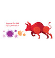 year ox fighting with covid-19 vector image vector image