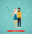Young couple taking a selfie with selfie stick vector image vector image