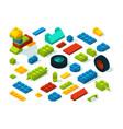 plastic constructor isometric bricks isolate on vector image