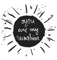 You are my sunshine Romantic quote vector image
