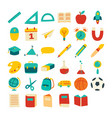 back to school icon set flat color style vector image