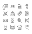 Bar and qr code scanning thin line icons vector image