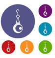 beauty pearl pendant icons set vector image vector image