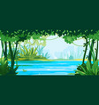 big river around jungle plants vector image vector image