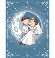 bride and groom sitting on moon cartoon vector image