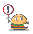 burger character fast food with sign vector image vector image
