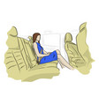 businesswoman sitting in a car vector image