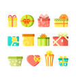 colorful wrapped present boxes flat vector image vector image