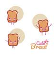 cute bread kawaii cartoon vector image vector image