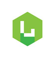 digital letter l logo icon with green hexagon vector image