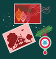 Elements for Christmas post cards vector image vector image