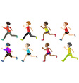 Faceless kids running vector image vector image