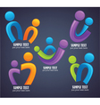 Family in bright color on dark background vector image