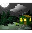 fantastic green lodge at night vector image vector image