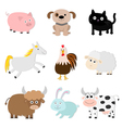 Farm animal set Pig cat cow dog rabbit ship horse vector image