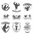 fitness emblems logo design vector image