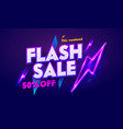 flash sale neon night banner sign discount vector image vector image