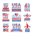 fourth of july independence day logo set vector image