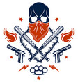 gangster emblem logo or tattoo with aggressive vector image