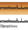 Harvard University skyline in orange
